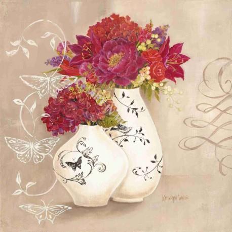 Reproduction déco shabby chic fleurs et papillons kathryn white