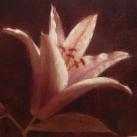 Carte d'art fleurs lis rose