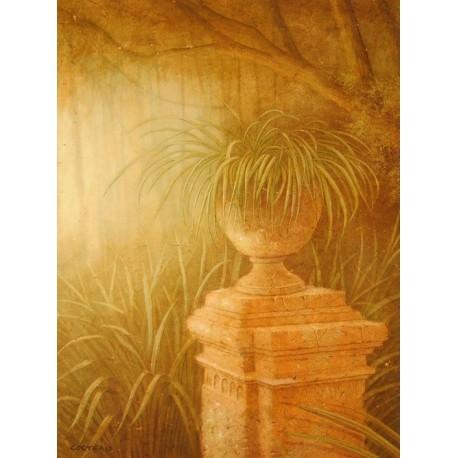 Carte d'art fleurs plantation urne Jean Pierre Cocteau
