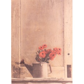 Carte d'art fleurs renoncules rouge