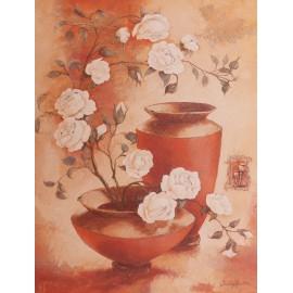 Carte d'art fleurs roses blanches