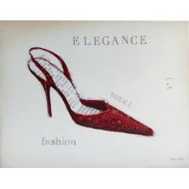 Carte d'art déco chaussure élégance velours rouge