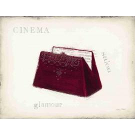 Carte d'art déco cinéma sac velours rouge glamour détail