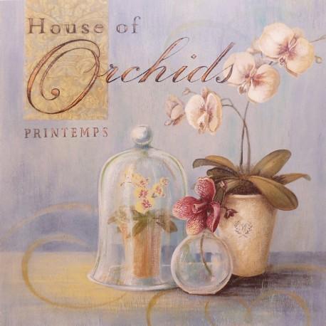 Carte d'art maison shabby chic fleurs orchidées maison