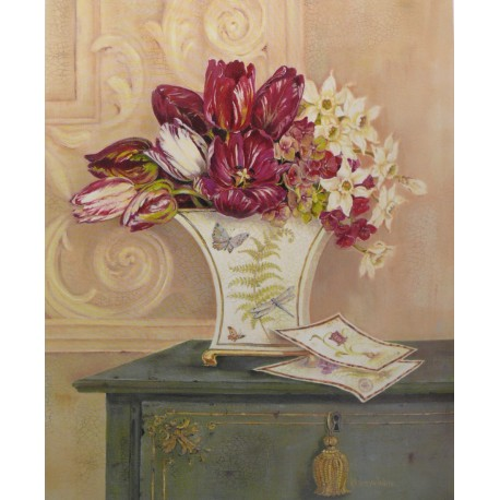 Carte d'art papillon et tulipe Kathryn White