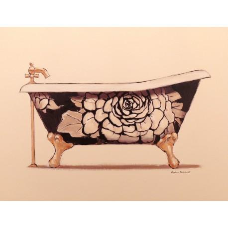 Carte d'art baignoire floral
