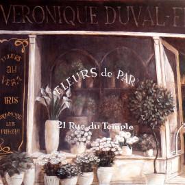 Carte d'art maison shabby chic fleurs de paris duval