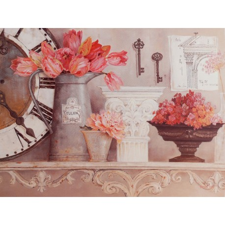 Carte d'art maison shabby chic fleurs time for blooms Kathryn White