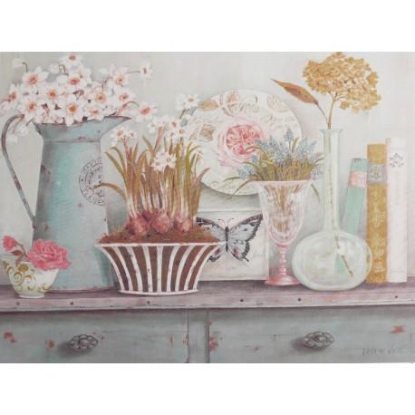 Encadrement carte d 39 art maison shabby chic fleurs vintage for Encadrement shabby chic