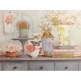 Carte d'art maison shabby chic fleurs collection du jardin