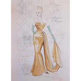Carte d'art femme shabby chic Chad Barrett couture printemps