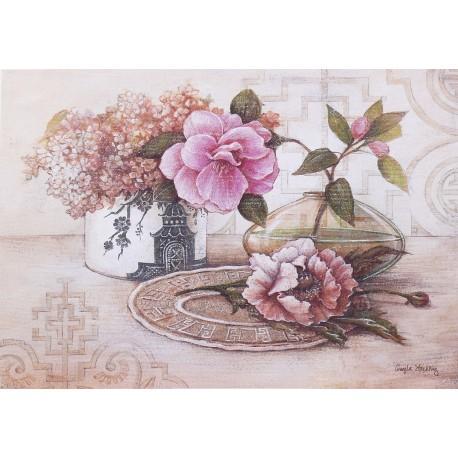 Carte d'art maison shabby chic fleurs lilas et camélia