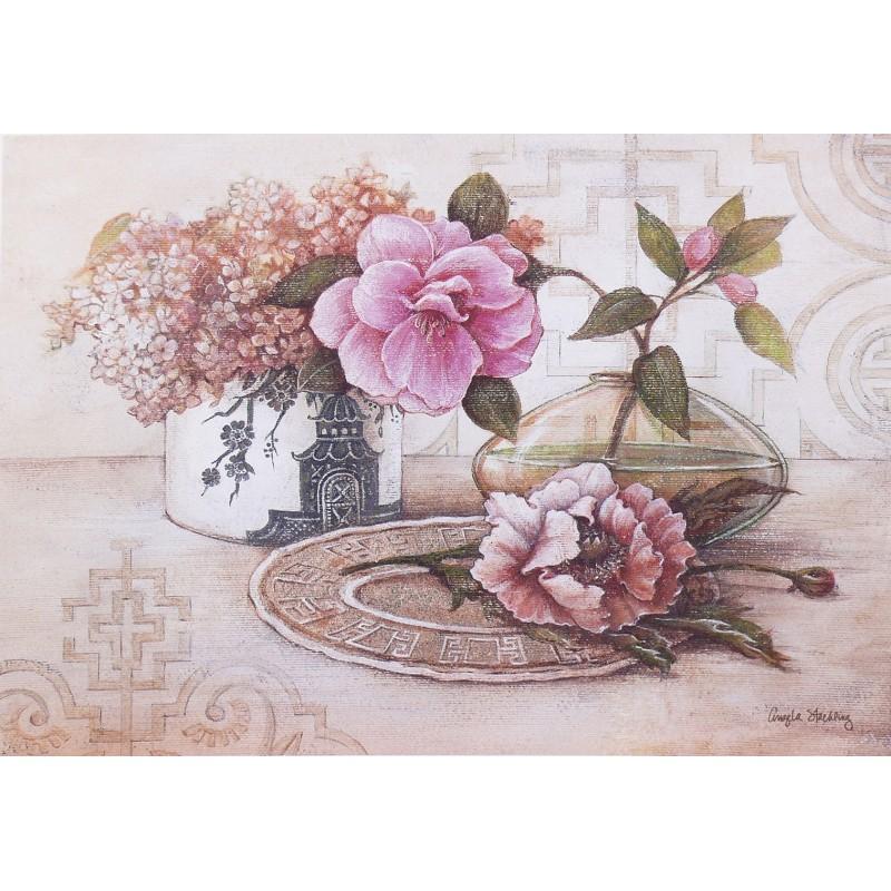 Encadrement carte d 39 art shabby chic fleurs lilas cam lia for Encadrement shabby chic