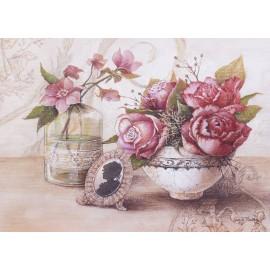 Carte d'art maison shabby chic fleurs roses rose