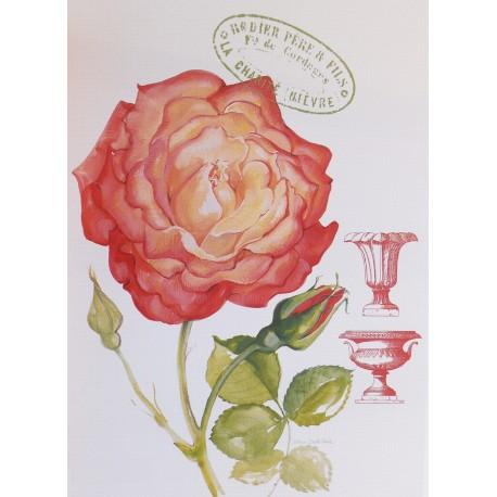 Carte d'art fleurs grandiflora rose