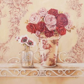 Carte d'art maison shabby chic fleurs chintz and roses Stephania Ferri