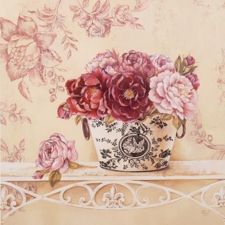 Encadrement carte d 39 art shabby chic fleurs chintz and peonies for Encadrement shabby chic