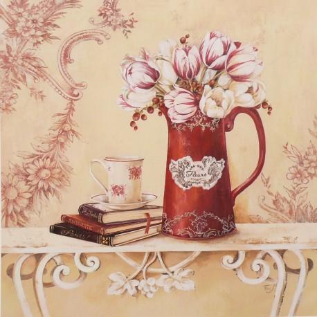 Carte d'art maison shabby chic fleurs tulipes chintz Stephania Ferri