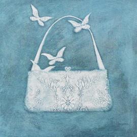 Carte d'art sac et papillons