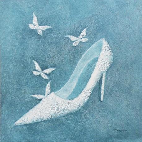 Carte d'art chaussure et papillons