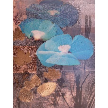 Carte d'art fleurs poppy cerulean