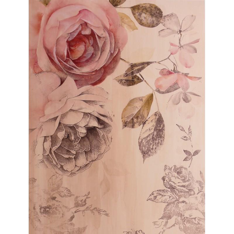 encadrement carte d 39 art fleurs roses shabby chic roses 2. Black Bedroom Furniture Sets. Home Design Ideas