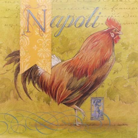 Carte d'art poule napoli rooster