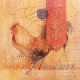 Carte d'art poule florence rooster Angela Staehling