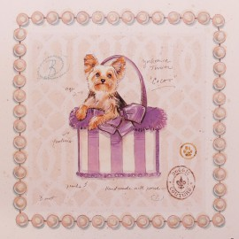 Carte d'art chien yorkie puppy purse Chad Barrett