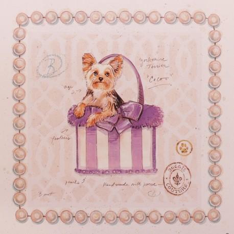 Carte d'art chien yorkie puppy purse Chad Barrett