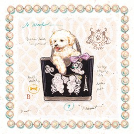 Carte d'art chien bichon puppy purse Chad Barrett