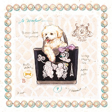 Carte d'art chien bichon puppy purse Chad Barrett