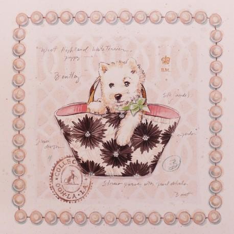 Carte d'art chien westie puppy purse Chad Barrett