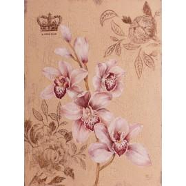 Carte d'art fleurs orchidée feuille dorée 2