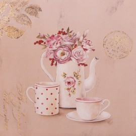 Carte d'art maison shabby chic fleurs set for breakfast Stephania Ferri