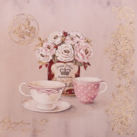 Carte d'art fleurs set for tea Stephania Ferri