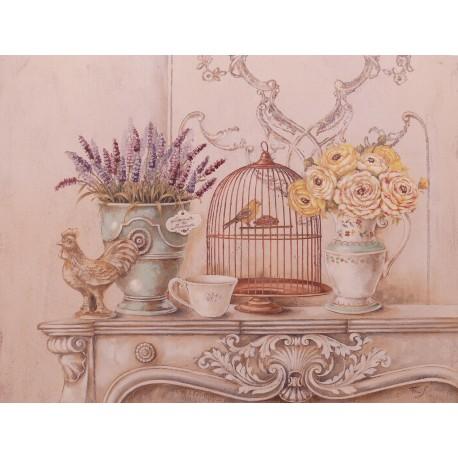 Carte d'art maison shabby chic fleurs maison française