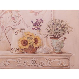 Carte d'art maison shabby chic fleurs maison italienne