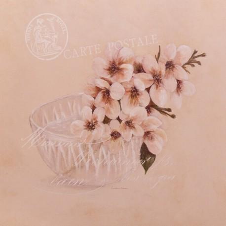 Carte d'art pommier en fleurs