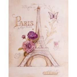 Carte d'art shabby chic Paris tour eiffel roses