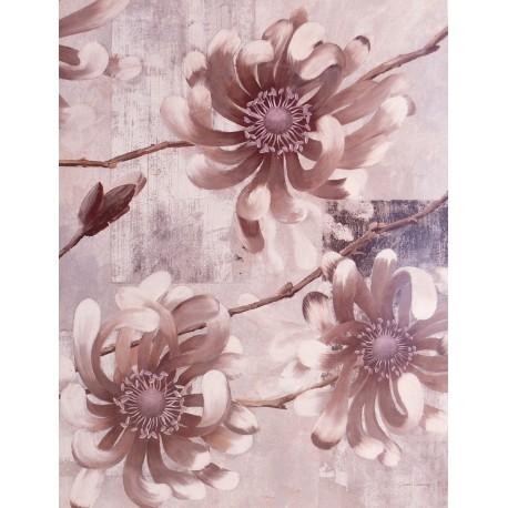 Carte d'art fleurs pétales gris
