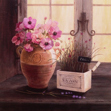 Carte d'art maison shabby chic fleurs cloches Angela Staehling