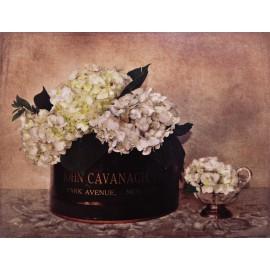 Carte d'art maison shabby chic fleurs hortensia Cristin Atria