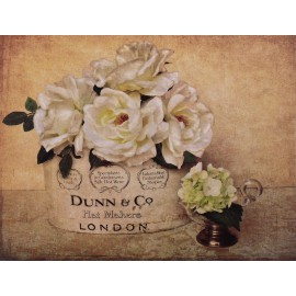 Carte d'art maison shabby chic fleurs roses blanches london