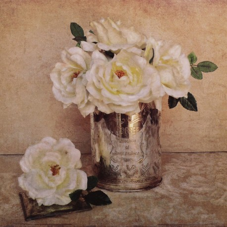 Carte d'art fleurs rose anciennes shabby chic blanche 1