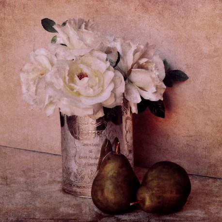 Carte d'art fleurs rose anciennes shabby chic blanche 2