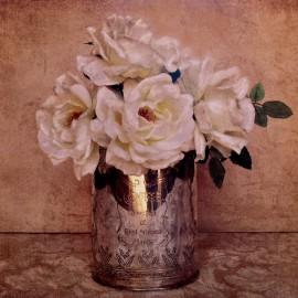 Carte d'art fleurs rose anciennes shabby chic blanche 3 Cristin Atria