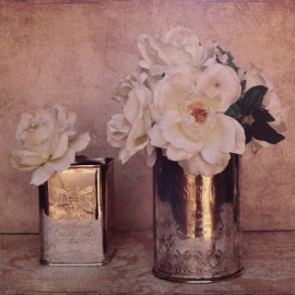 Carte d'art fleurs rose anciennes shabby chic blanche 4 Cristin Atria