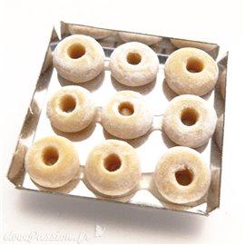 Miniature vitrine plateau 9 donuts nature 3x3cm
