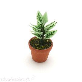 Miniature vitrine plante verte 2x4cm